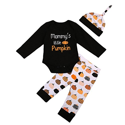 (VISGOGO 3PCS Toddler Baby Boy Girl Mommy's Little Pumpkins Clothes Romper Pants Hat Outfits Set 0-24 Months (6-12 Months))