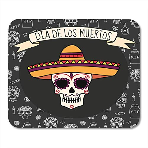 HZMJPAD White Dia Colorful Skull in Sombrero on Halloween with Tombstones Tequila Flowers and Candles Los Mouse Pad 8.6 X 7.1 in]()