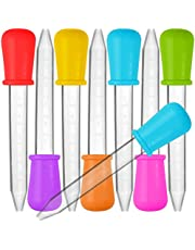 8 Pcs Liquid Droppers, SENHAI Silicone and Plastic Pipettes Transfer Eyedropper with Bulb Tip for Candy Oil Kitchen Kids Gummy Making – 7 Colors