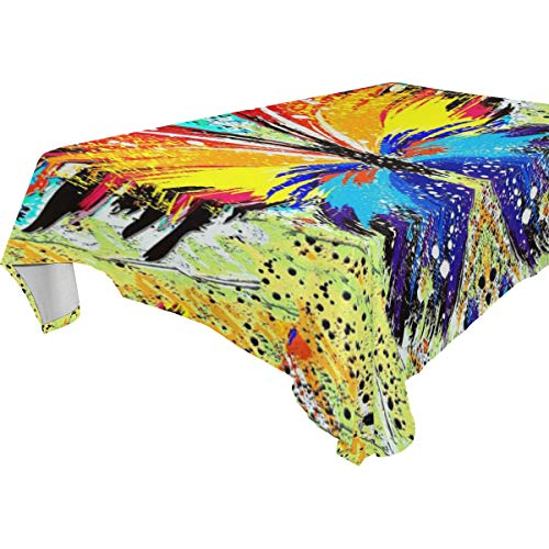 Table Cloth Abstract Butterfly Rectangle/Oblong Polyester Tablecloth Washable Table Cover for Dinner Picnic, Buffet Table, Parties]()