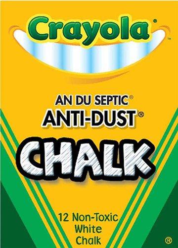 Crayola Anti-Dust Chalk; Non-Toxic, White, 12 Sticks; no. BIN1402