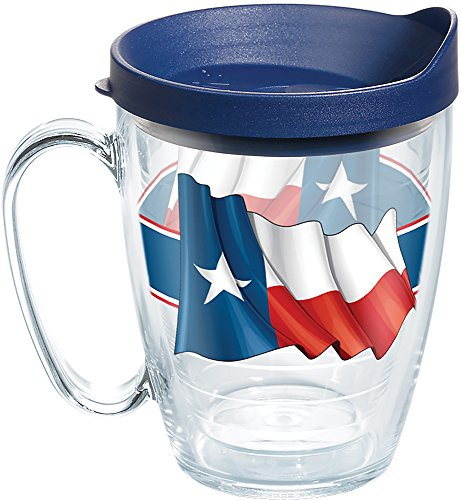 (Tervis 1270643 Texas Flag Tumbler with Wrap and Navy Lid 16oz Mug, Clear)