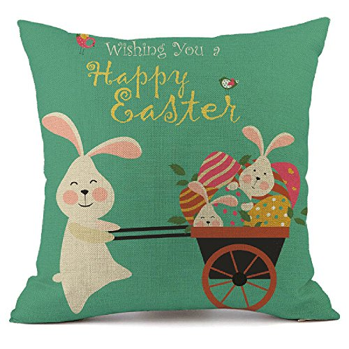 WUDUBE Happy Holiday Easter Pillow Cases Throw Modern Fashion Cushion Cover Square Home Garden Sofa Car Bedroom Doll Party Accessory Rabbit Bunny Bed Decoration Festival
