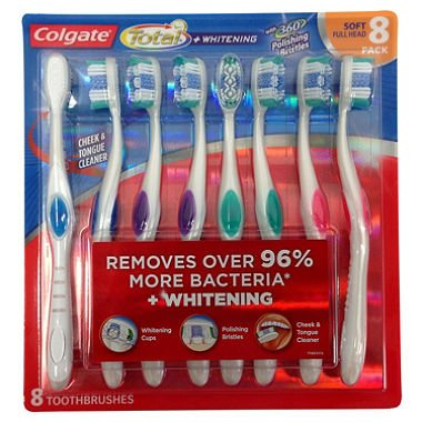 Adult Full Head (Colgate 360 Degree Adult Full Head, Soft Toothbrush, 8 - Count)