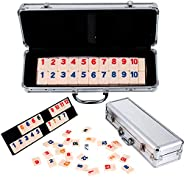 Rummy 106 Rummy Tiles Game, Tocebe Travel Games Rummy Board Game, Rummy Set with Aluminum Case & 4 Anti-Sk