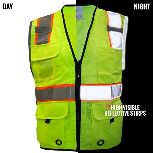 RK Safety P6612 Class 2 High Visible Two Tone Reflective Strips Breathable Mesh Vest, Pockets Harness D-Ring Pass Thru, ANSI/ISEA, Construction Motorcycle Traffic Emergency (Lime, Medium) by New York Hi-Viz Workwear (Image #3)