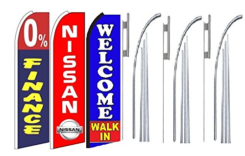 0 Finance Nissan Welcome Walk In King Swooper Feather Flag Sign Kit With Pole And Ground Spike  Pack Of 3