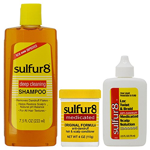 - Sulfur8 Anti-Dandruff Hair & Scalp Care Shampoo 7.5oz + Conditioner 4oz + Loc Twist Scalp Solution (Set)