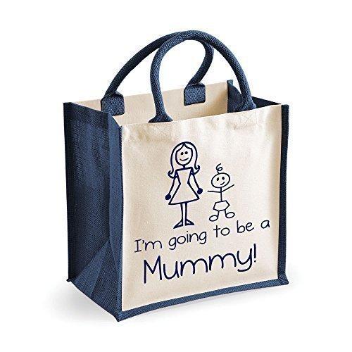 Mittlere Jute Tasche I'm Going Zum Sein A Mummy Marineblau Tasche Muttertag Neu Mutter Geburtstag Weihnachtsgeschenk