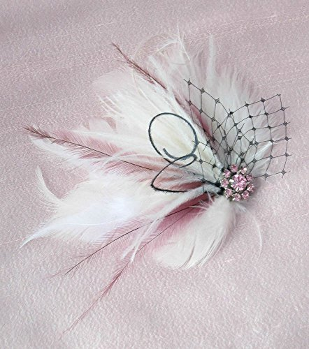 Petite Pink & Ivory Feather Hair Clip With Black Veil by Deanna DiBene Millinery