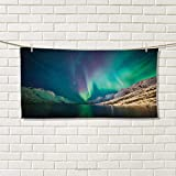 Chaneyhouse Nature,Hand Towel,Mystical Aurora Borealis Above The Rocky Hills Magnetic Poles Solar Space Panorama,Quick-Dry Towels,Jade Green Size: W 20'' x L 20''