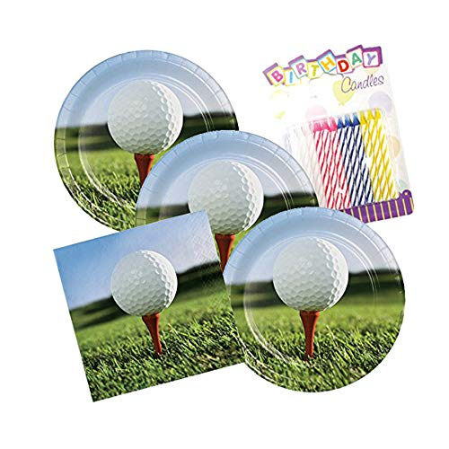 Sports Fanatic Golf Theme Plates and Napkins Serves 16 With Birthday Candles ()