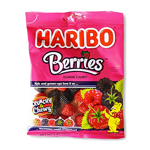 Haribo Gummi Candy, Berries, 5-Ounce Bags (Pack of 12)