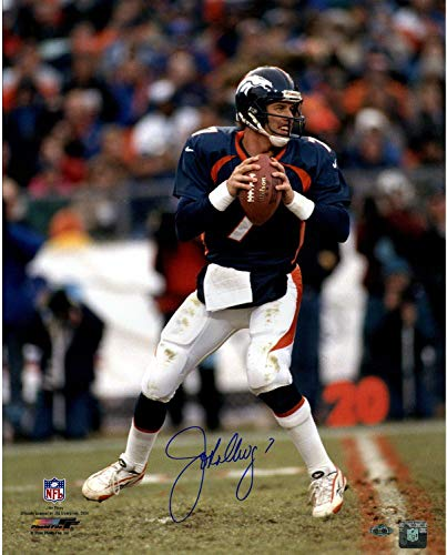 (John Elway Signed vertical in pocket new uniform 16x20 Photo - Steiner Sports Certified - Autographed NFL Photos)
