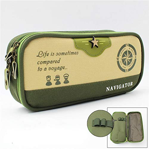 7 LFDQBH Creative Cute Simple Canvas MultiLayer High Capacity Pencil Bag Students Pencil Case School Penalty Chancery s