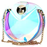 Womens Laser Hologram Shining Cross Body bag Transparent Sling bag Clear Beach Waterproof Swimming Purse