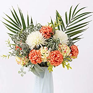 FENGRUIL Artificial Hydrangea Flowers Fake Silk Hydrangea Flower Bouquets Decoration for Wedding Home Office Table Party (Sunset)