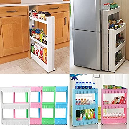 Shopybucket Multipurpose 3 Tier Kitchen Storage Shelves With Pulley  Refrigerator Clearance Gap Storage/Bathroom