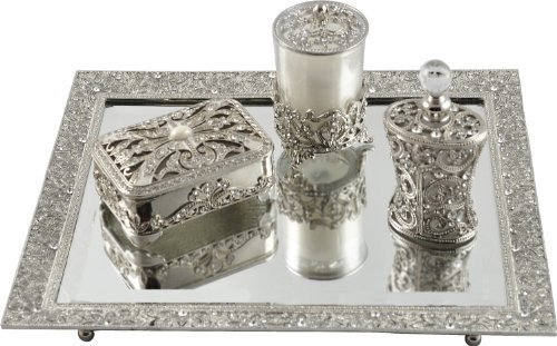 New Design Beveled Mirror Tray Vanity Set including Candle Holder, Jewelry Box, Perfume Bottle. by Artistique by Artistique