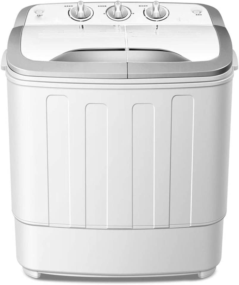 FDY Lavadora Portátil De Doble Cubeta Mini Semiautomático (Lavado De 5 kg + 2 kg De Deshidratación) Potencia Lavado 240W Apto para Apartamentos, Cámping, Residencia Universitaria