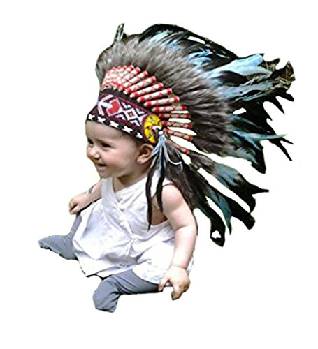 [For 9 to 18 Month Toddler / Baby: Turquoise Indian Headdress for the Little Ones !] (Toddler Indian Costumes)