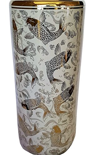 Porcelain Fish Vase (Porcelain Umbrella Stand Gold Fish on White Glazez)