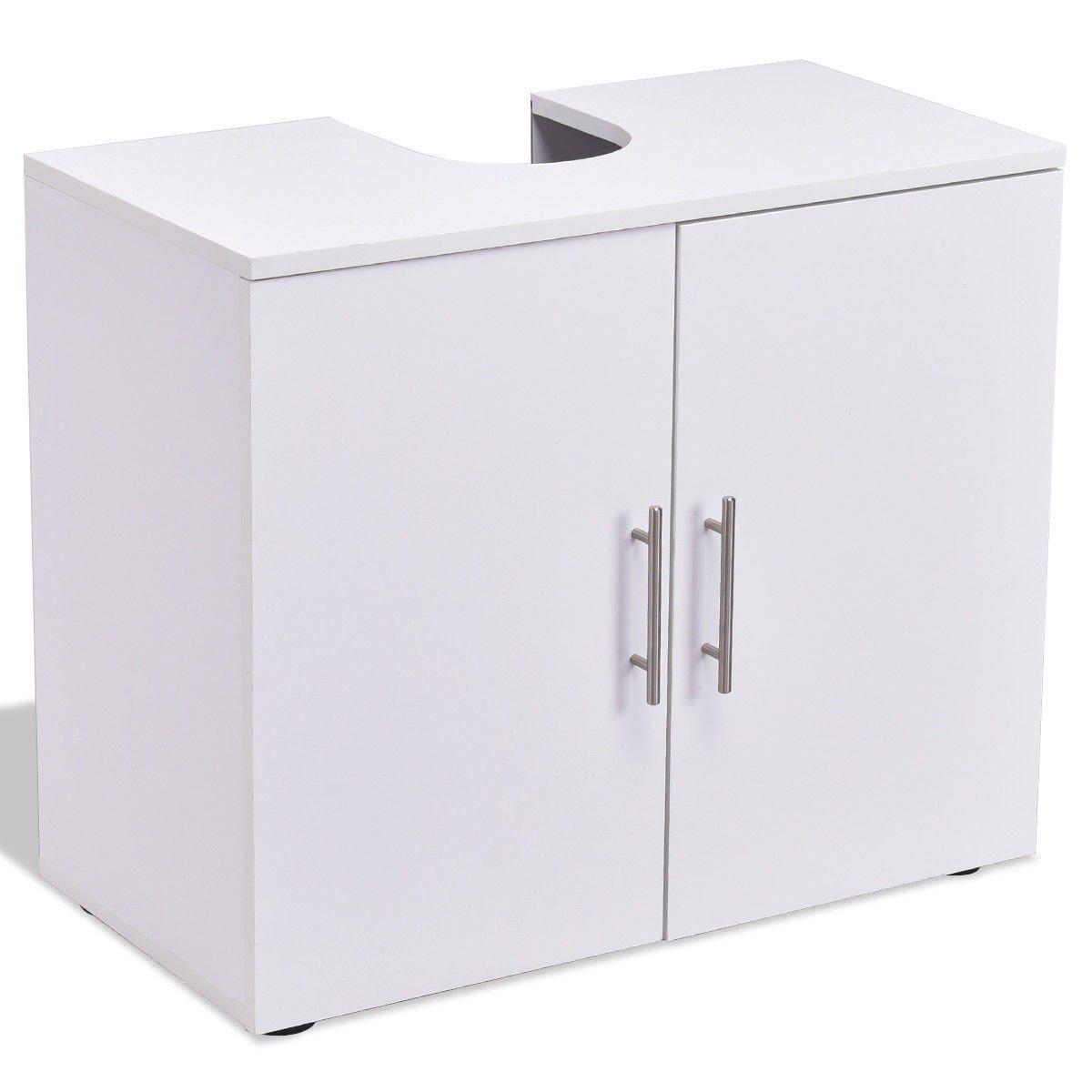 Storage Vanity Cabinet Bathroom Non Pedestal Under Sink Wall Mounted White Wood Furniture MD Group