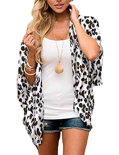 (Chunoy Women Leopard Printed Kimono Half Sleeve Shawl Chiffon Cover Up Large)