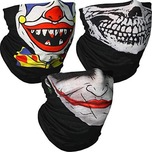 Kit of 3 x Seamless Polyester Camo Bandanas - Skull Print, Clown ...