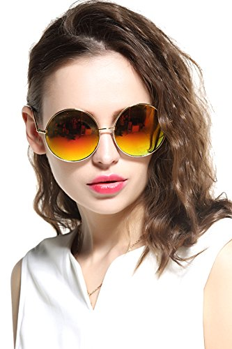 132ae54ad8 GEELOOK Oversized Round Circle Mirrored Hippie Hipster Sunglasses - Metal  Frame