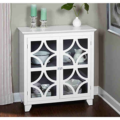 Vintage Wide Cabinet (Simple Living Sydney Vintage-inspired White Satin Finished Mdf, Acrylic, Tempered Glass and Metal Crafted Cabinet (38 Inches High X 36 Inches Wide X 16 Inches Deep))