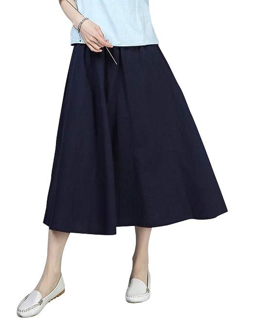 Mujer Falda Acampanada Elástica Cintura Alta Color Sólido Suelto ...