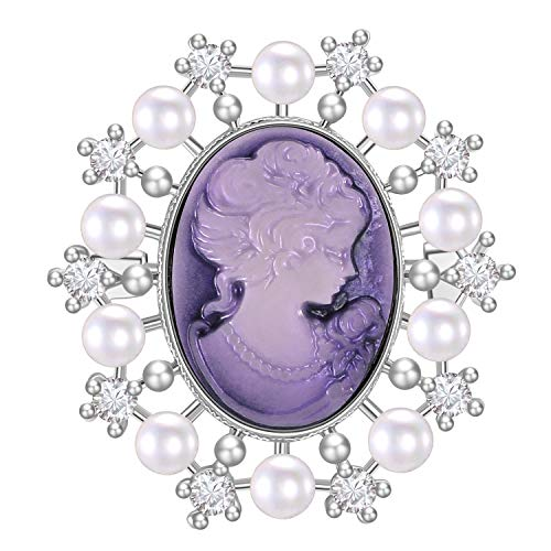 LILIE&WHITE Vintage Inspired Victorian Cameo Lady Maiden Crystal Rhinestone Pin Brooch for Women