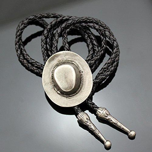 Q&Q Fashion Silver Plated Vintage Cowboy Hat Stetson Black Leather Rodeo Western Bolo Bola Tie Necktie Line Dance by Q&Q Fashion (Image #1)