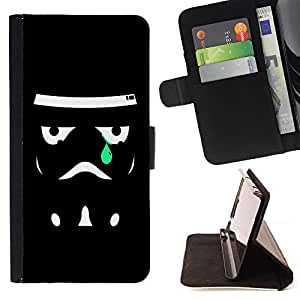 - Sad Trooper - - Prima caja de la PU billetera de cuero con ranuras para tarjetas, efectivo desmontable correa para l Funny HouseFOR Samsung Galaxy S6