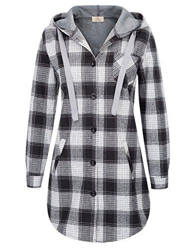 (Women's Super Soft Plaid Checker Loose Fit Hood Flannel L Black)