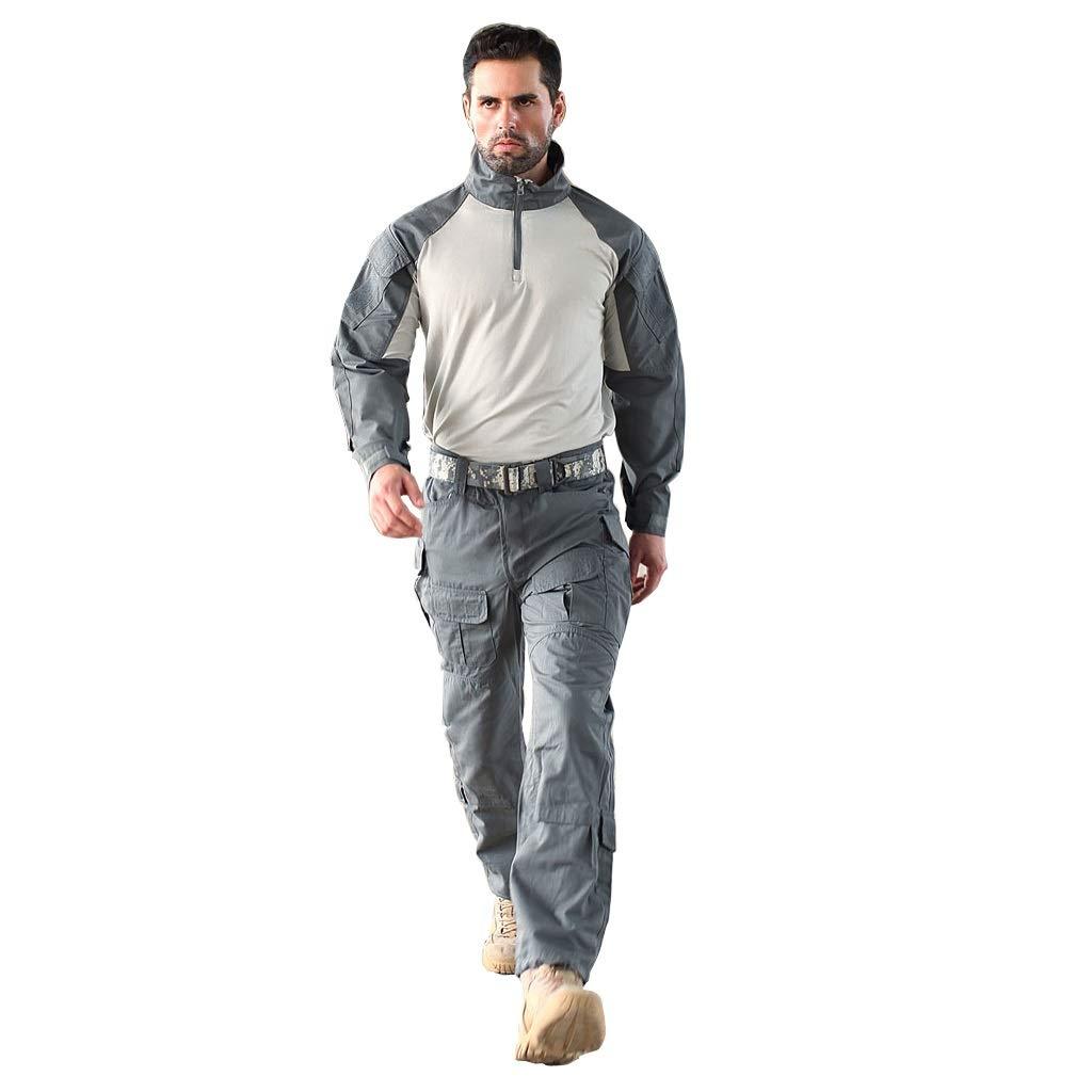 Grauer Trainingsanzug, Camouflage Sportswear für Herren Jogginghosen Jacken Anzüge Taktische Anzüge Atmungsaktiv Sportklettern Bergreiten Kriegsspiele Militär Fans (größe : M)