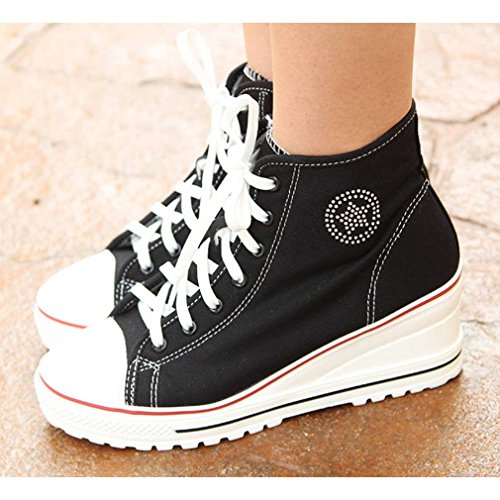 Heels Canvas High Up Fashion Hightop Wedges Women's Shoes Black EpicStep Lace Sneakers FRBagxw
