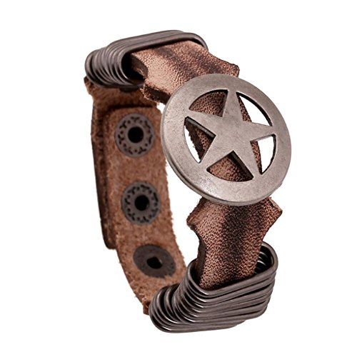Bishilin Retro Round Hoop Stars Punk Brown Leather Cuff Wrap Bangle Bracelets