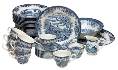 Churchill China Brook Blue 45-Piece Dinnerware Set Service for 8 Amazon.co.uk Kitchen u0026 Home  sc 1 st  Amazon UK & Churchill China Brook Blue 45-Piece Dinnerware Set Service for 8 ...