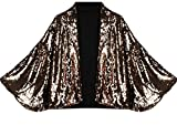 Alion Women's Sequins Batwing Sleeve Sexy Fashional Outerwear Suit Jacket Golden M