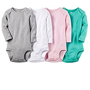 Carter's Baby Girls' 4 Pack Pointelle Bodysuits (Baby)