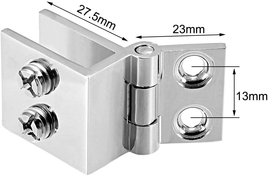 uxcell Glass Door Hinge 0 Degree Cupboard Showcase Cabinet Door Hinge Glass Clamp Polished Pure Copper for 5-8mm Glass Thickness 4Pcs