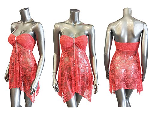 DYWB Women's Sexy Lace Floral Tube Top Dress Summer Beach See-Through Rhinestone Accessories Orange (Medium) Rhinestone Trim Bikini