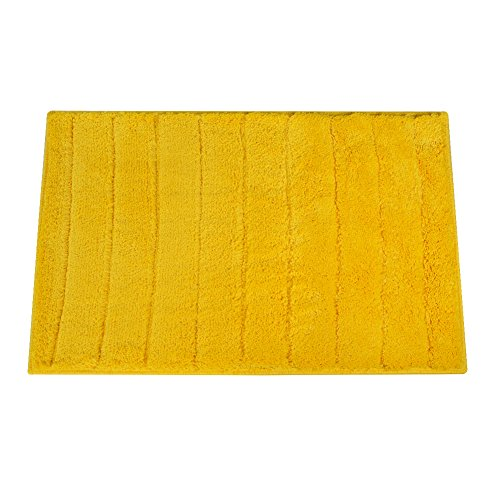 Top Finel Shag Collection Non-Slip Entrance Area Runners Rugs Solid Color Floor Door Mats 24 x 35 Inch For Kitchen Bathroom, Yellow
