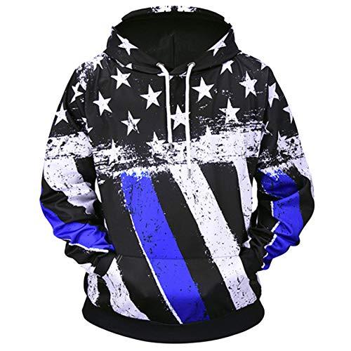 GJFI KFKFF Thin Blue Line American Flag Men's Digital Print Pullover Hoodies Long Sleeve Sweatshirt
