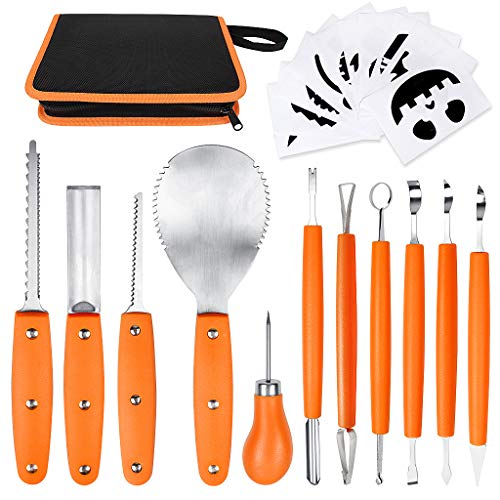 OWUDE Professional Pumpkin Carving Kit, 11 Pieces Heavy Duty Stainless Steel Carving Tools for Halloween with Carrying Case and 10 Pcs Carving Templates - Orange]()