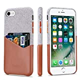 iPhone 8 Case, iPhone 7 Case, Lopie [Sea Island Cotton Series] Fabric Slim Fit Hard Back Case Wallet Cover with Leather Credit Card Holder Slot Design for iPhone 7/8 - Light Brown