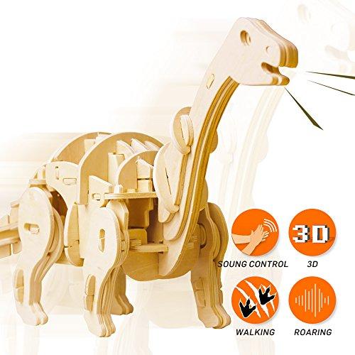 Sound Puzzle Kit (ROBOTIME Mini Apatosaurus 3D Wooden Walking Dinosaur Puzzle Sound Control Toy Gift for Kids)