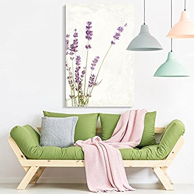Canvas Wall Art - Vintage Style Purple Lavender Flowers on Grunge Background - Giclee Print Gallery Wrap Modern Home Art Ready to Hang - 12x18 inches
